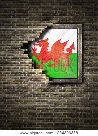 3d Rendering Of A Wales Flag Over A Rusty Metallic Plate Embedded On An Old Brick Wall