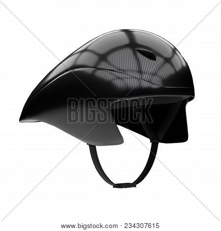 Time Trial Bicycle Carbon Helmet Model. Perspective View. Equipment Of Road Bicycle Racing. 3d Rende