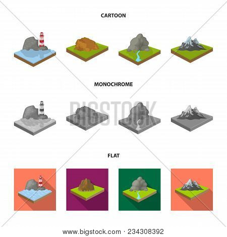 Mountains, Rocks And Landscape. Relief And Mountains Set Collection Icons In Cartoon, Flat, Monochro