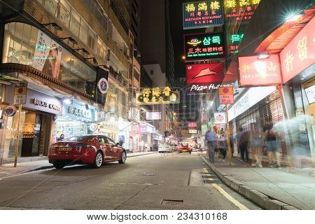 Kowloon, Hong Kong - September 19 2017; Typically Asian Neon Signs In City Street Under Night Lights