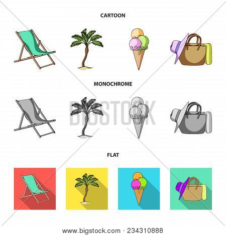 Beach, Palm Tree, Ice Cream.summer Vacation Set Collection Icons In Cartoon, Flat, Monochrome Style
