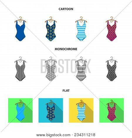 Different Kinds Of Swimsuits. Swimsuitsset Collection Icons In Cartoon, Flat, Monochrome Style Vecto