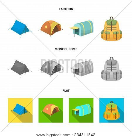 Backpack And Other Kinds Of Tents.tent Set Collection Icons In Cartoon, Flat, Monochrome Style Vecto