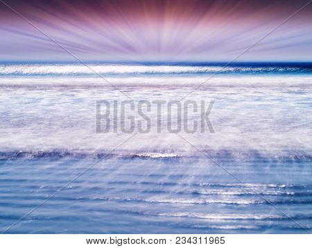 Dramatic Sun Rays Over The Tidal Waves Of Ocean Backdrop Hd