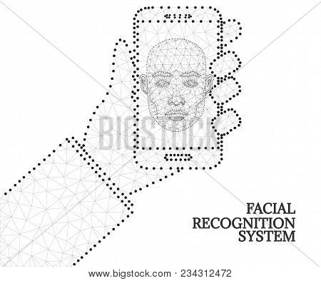 Biometric Identification Or Facial Recognition System, Wireframe Concept. Mobile App For Face Recogn
