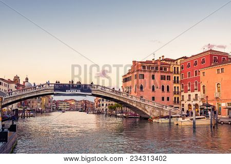 Venice - May 18, 2019: Panoramic View Of Grand Canal At Sunset In Venice, Italy. Grand Canal Is One
