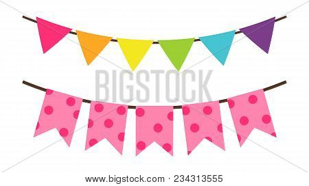 Colorful Birthday Flags Decoration For Party Vector Decorative Elements Isolated On White Background