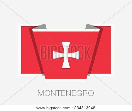 Historical Montenegrin Flag. Flat Icon Waving Flag With Country Name