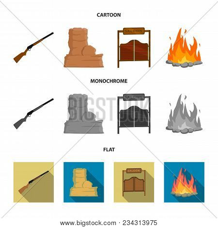 Winchester, Saloon, Rock, Fire.wild West Set Collection Icons In Cartoon, Flat, Monochrome Style Vec