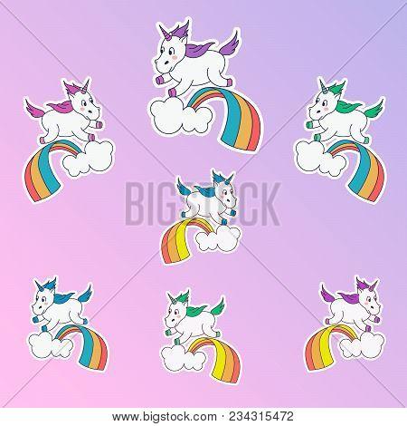 Magic Unicorn Patches. Trendy Different Colors Unicorn Stickers. Unicorn Jumping Through The Rainbow