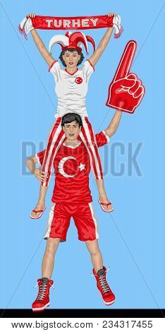 Turkish Fans Supporting Turkey Team With Scarf And Foam Finger. All The Objects Are In Different Lay