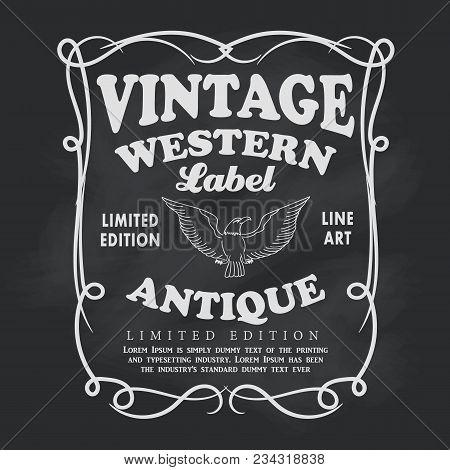 Western Hand Drawn Frame Label Blackboard Vintage Banner Vector Illustration