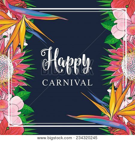 Tropical Flowers Border On Carnival Card With Isolated Sketch Colorful Exotic Blooms Of Plumeria, Ma
