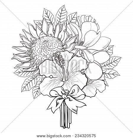 Tropical Flowers And Palm Leaves In Bouquet With Bow In Sketch Style Isolated On White Background. H