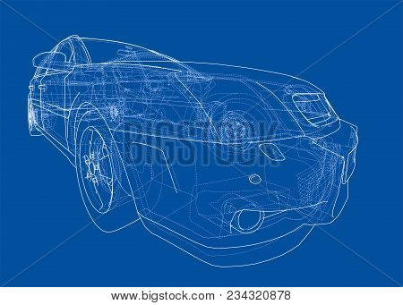 Car wireframe images illustrations vectors car wireframe stock concept car blueprint 3d illustration wire frame style malvernweather Images