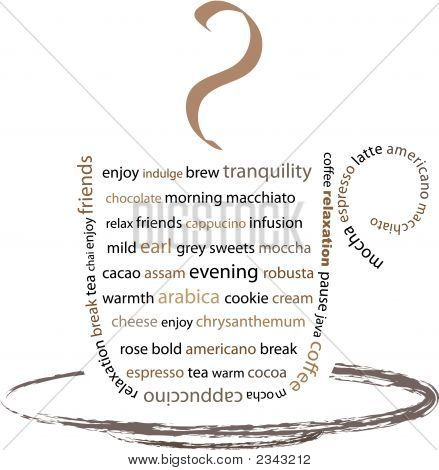 Image of a cup composed of words relating to tea and coffee breaks poster
