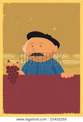 Winemaker Holding Grape Vine Poster
