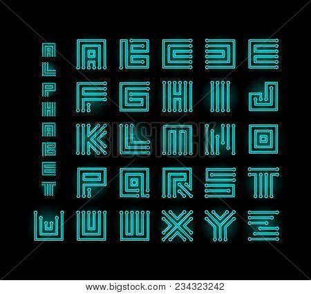 Tech Ront, Technology Vector Alphabet, Chipset Stylized Letters, Cpu Data Base Letter Logos Set Temp