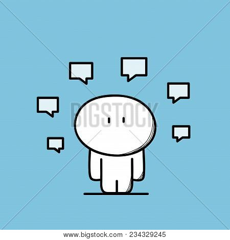 Cute Funny Man And Lots Of Messages Or Chat Symbols. Information, Mass Media, Communication And Disc