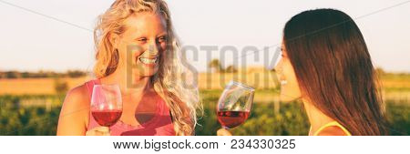 Wine tasting people drinking at vineyard outside at sunset. Fun summer activity banner panorama. Two women talking with a glass of red wine.