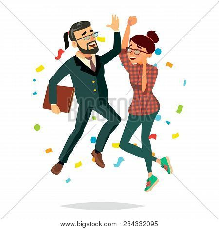 Business Couple Jumping Vector. Man And Woman. Entrepreneurship, Accomplishment. Best Worker, Achiev