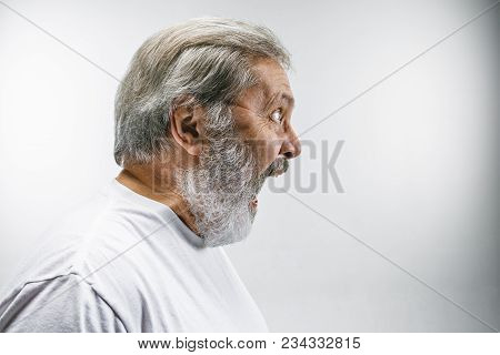 Screaming, Hate, Rage. Crying Emotional Angry Man Screaming On White Studio Background. Emotional, M