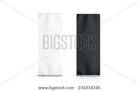 Blank White And Black Roll-up Banner Set Display Mockup, Isolated, 3d Rendering. Clear Rollup Baner