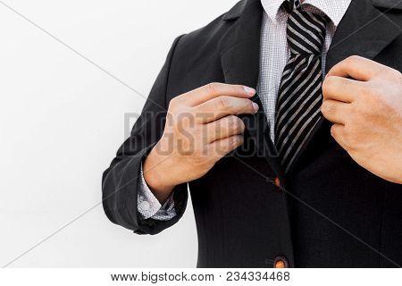 Businessman Adjust Necktie Before Start To The Office