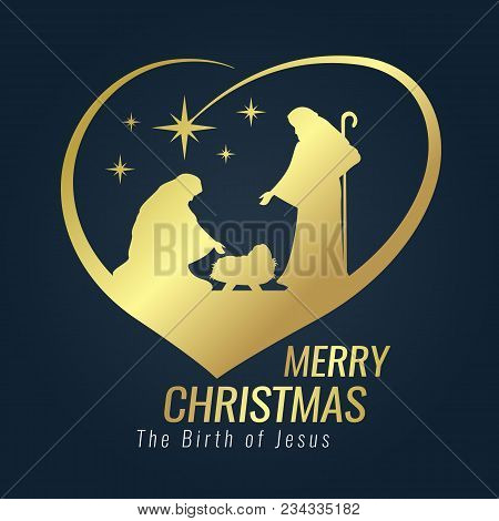 Merry Christmas Banner Gold Sign With Nightly Christmas Scenery Mary And Joseph In A Manger With Bab