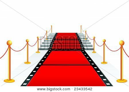 illustration of film stripe laying as red carpet on stair poster
