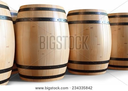 3d Illustration Wooden Barrels Wine Isolated On White Background. Alcoholic Drink In Wooden Barrels,