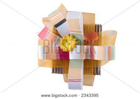An orange gift box on white background