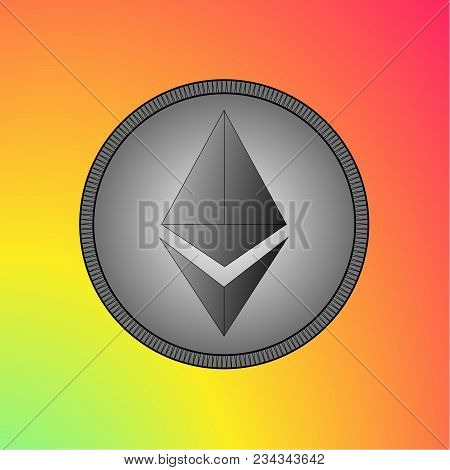 Ethereum Logo On A Bright Background. Background Gradient From Green To Red. Logo For Business And F