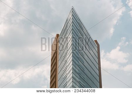 Berlin, Germany - June 20, 2017: Modern Designed Skyscraper And Blue Cloudy Sky, Potsdamer Platz, Be