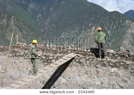 Chinese People Building A Wall