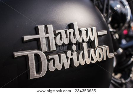 Podebrady, Czech Republic - March 31, 2018: Harley Davidson Logo Sign On Motorcycle Reservoir On Cze
