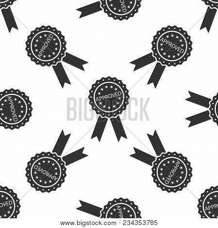 Approved Or Certified Medal Badge With Ribbons Icon Seamless Pattern On White Background. Approved S