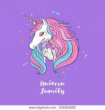 Unicorn Family. Love. Magic. Dream. Vector Hand Drawn Illustration Card Postcard