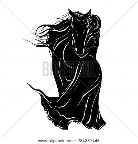 Stylized Silhouette Of A Horse With A Beautiful Hairdo And A Girl Rider. Vector Illustration On Whit