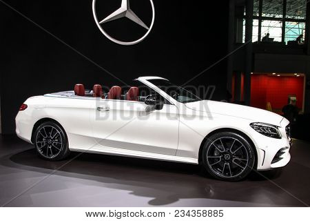 NEW YORK CITY-MARCH 28: Mercedes C Class Cabriolet shown at the New York International Auto Show 2018, at the Jacob Javits Center. This was Press Preview Day One of NYIAS, on March 28, 2018.