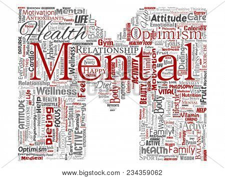 Conceptual mental health or positive thinking letter font M word cloud isolated background. Collage of optimism, psychology, mind healthcare, thinking, attitude balance or motivation text