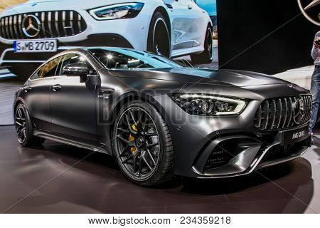NEW YORK CITY-MARCH 28: Mercedes AMG GT 63 S shown at the New York International Auto Show 2018, at the Jacob Javits Center. This was Press Preview Day One of NYIAS, on March 28, 2018.