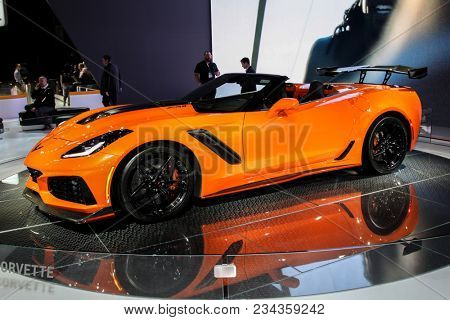 NEW YORK CITY-MARCH 28: Chevrolet Corvette ZR1 shown at the New York International Auto Show 2018, at the Jacob Javits Center. This was Press Preview Day One of NYIAS, on March 28, 2018.