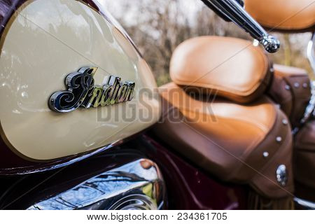 Podebrady, Czech Republic - March 31, 2018: Indian Motorcycle Logo On Beige Vintage Style Motorbike.