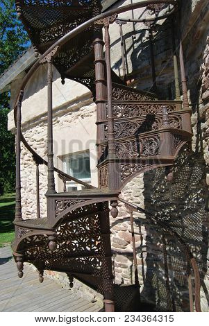 Fragment Of Ancient Iron Cast Spiral Staircase