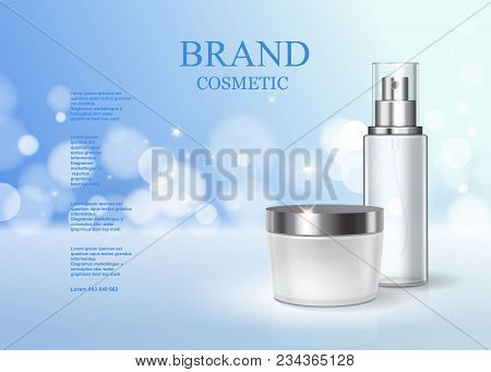 Moisturizing Cosmetic Products Ad Light Blue Sparkling Background. Skin Care Product Poster.
