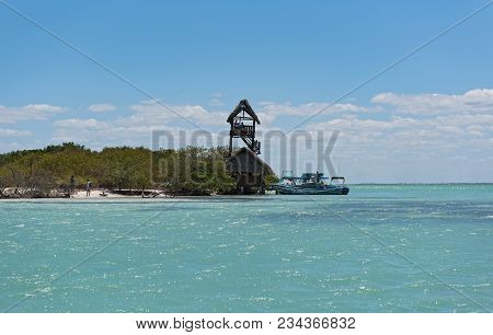 Holbox, Mexico-march 24: Observation Tower On The Bird Island Isla Pasion, Holbox Island, Mexico