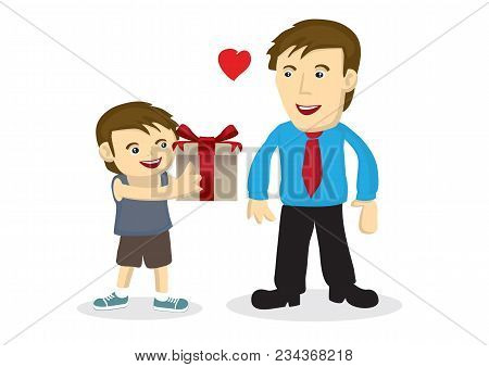 Vector Cartoon Illustration A Child Giving A Gift To His Father.