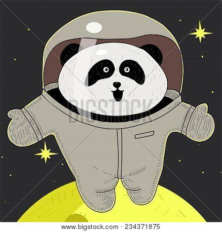White Panda Astronaut In Space Suit. The Pioneer. Adventures In Space. Panda In Weightlessness