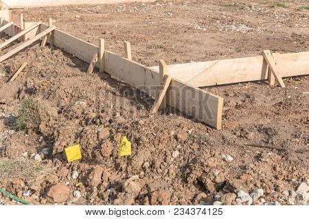 Wooden Formwork Concrete Strip Foundation For A New House